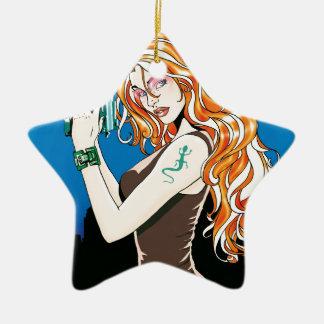 Ornement Étoile En Céramique Modèle femelle exotique avec les cheveux oranges