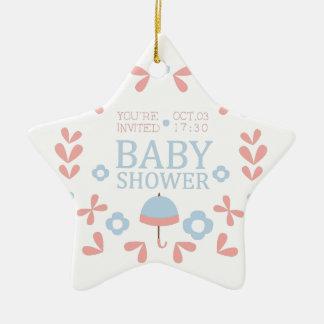 Ornement Étoile En Céramique Modèle floral de conception d'invitation de baby