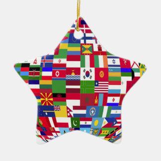 Ornement Étoile En Céramique Monde des drapeaux