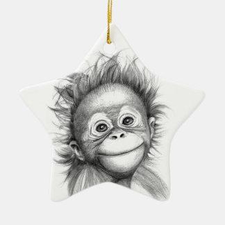 Ornement Étoile En Céramique Monkey - Baby Orang outan 2016 G-121