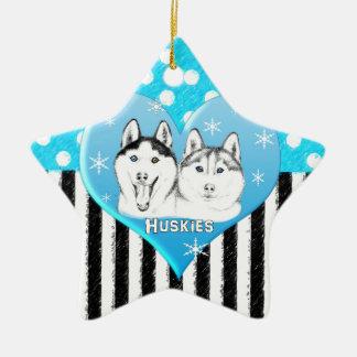 Ornement Étoile En Céramique Motif bleu de chiens de traîneau
