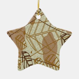 Ornement Étoile En Céramique Motif bronzage floral de Brown de fleur de feuille