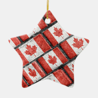 Ornement Étoile En Céramique Motif canadien de motif de drapeau