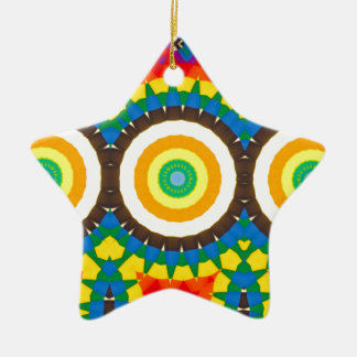Ornement Étoile En Céramique Motif coloré de point de kaléidoscope