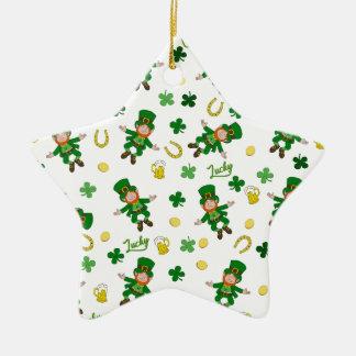 Ornement Étoile En Céramique Motif de Jour de la Saint Patrick