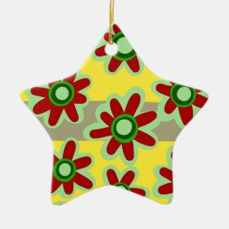 Ornement Étoile En Céramique motif floral