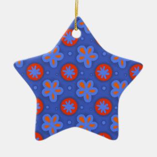 Ornement Étoile En Céramique motif floral bleu