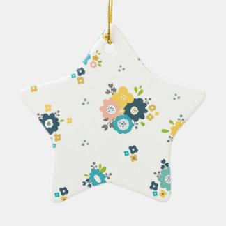 Ornement Étoile En Céramique Motif floral coloré