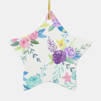 Ornement Étoile En Céramique Motif floral de couleur en pastel d'aquarelle
