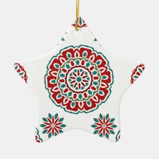 Ornement Étoile En Céramique Motif floral de rétro abrégé sur coloré bohémien