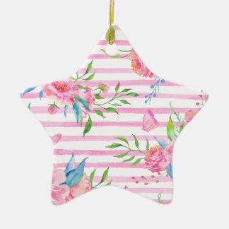 Ornement Étoile En Céramique Motif floral rose d'aquarelle avec des bandes