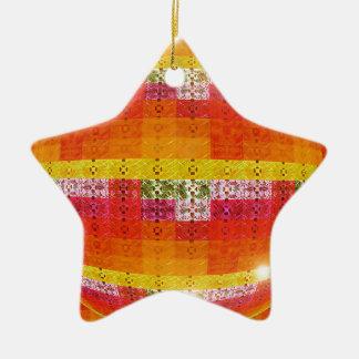 Ornement Étoile En Céramique Motif orange de boule de disco