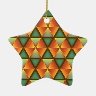 Ornement Étoile En Céramique Motif orange de diamant