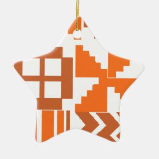 Ornement Étoile En Céramique Motif orange de Khanga