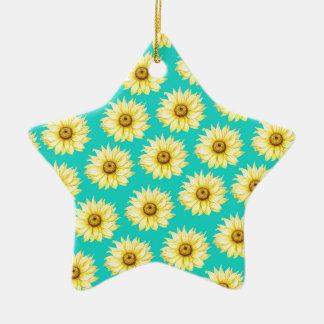 Ornement Étoile En Céramique Motif turquoise de tournesol