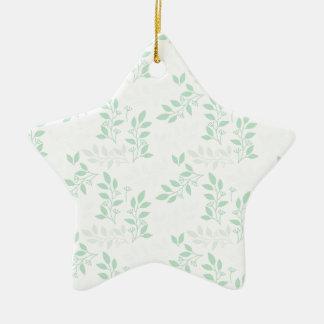 Ornement Étoile En Céramique Motif vert de feuille