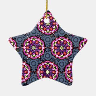 Ornement Étoile En Céramique Motifs floraux et cercles gris