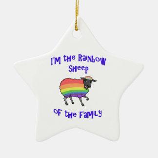 Ornement Étoile En Céramique Moutons d'arc-en-ciel de la famille