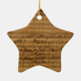 Ornement Étoile En Céramique Musique de feuille vintage par Johann Sebastian