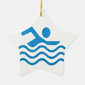 Ornement Étoile En Céramique Nageur 101 de bain de succès de natation