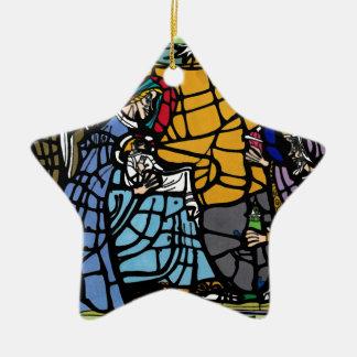 Ornement Étoile En Céramique Nativit en verre de tache