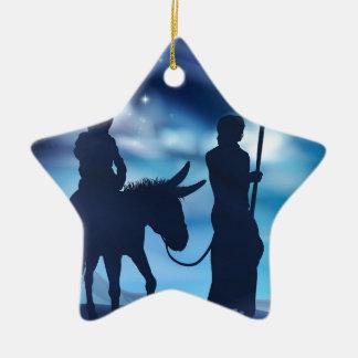 Ornement Étoile En Céramique Nativité Mary et illustration de Noël de Joseph