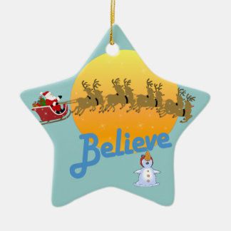 Ornement Étoile En Céramique Noël croient au Père Noël