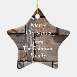 Ornement Étoile En Céramique Noël de famille de maçonnerie d'artisan