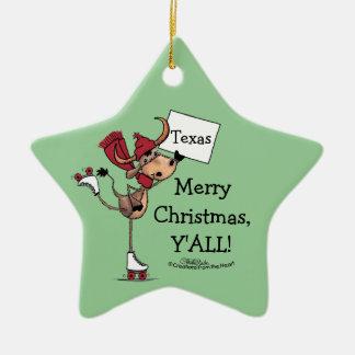 Ornement Étoile En Céramique Noël de rouleau de Longhorn Patiner-Joyeux vous !