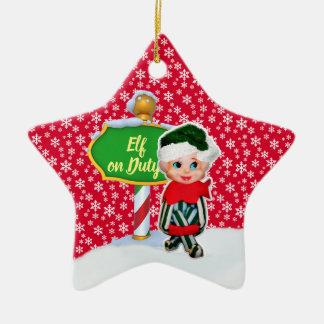 Ornement Étoile En Céramique Noël en service des elfes de FD ornemente 53086A13