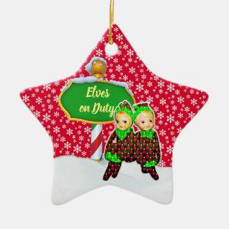 Ornement Étoile En Céramique Noël en service des elfes de FD ornemente 53086A14