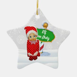 Ornement Étoile En Céramique Noël en service des elfes de FD ornemente 53086C13
