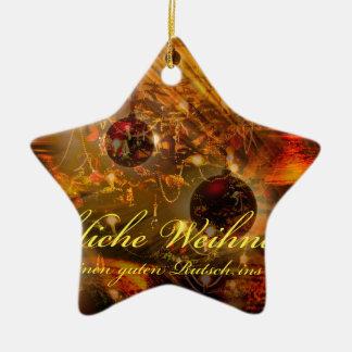 Ornement Étoile En Céramique Noël heureux un bon glisser dans à la nouvelle
