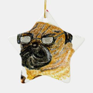Ornement Étoile En Céramique Noël mignon Dog2