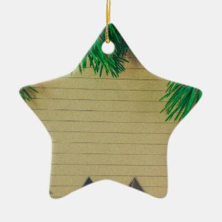 Ornement Étoile En Céramique Noël, vacances, joie, couleurs vertes, décor