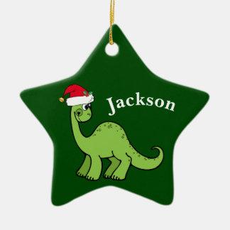 Ornement Étoile En Céramique Noël vert badine le dinosaure