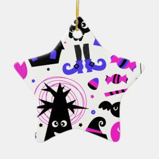 Ornement Étoile En Céramique Noir pourpre de partie merveilleuse de Halloween