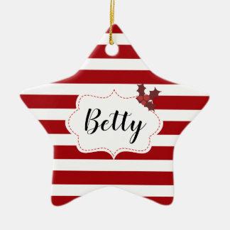 Ornement Étoile En Céramique Nom fait sur commande magique de Noël rouge et