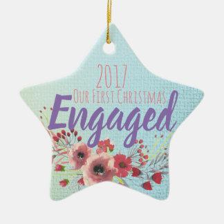 Ornement Étoile En Céramique Notre premier Noël engagé
