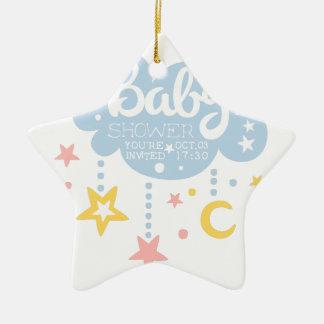 Ornement Étoile En Céramique Nuage et Temp de conception d'invitation de baby