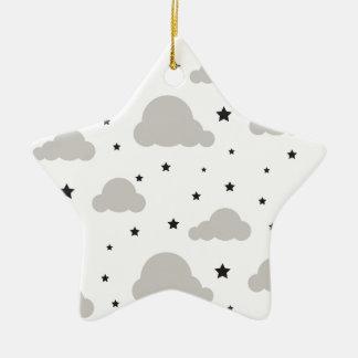 Ornement Étoile En Céramique Nuages et étoiles gris de noir