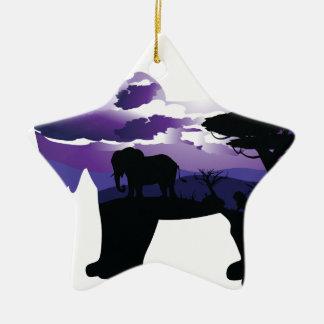 Ornement Étoile En Céramique Nuit africaine avec l'éléphant