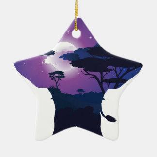 Ornement Étoile En Céramique Nuit africaine avec l'éléphant 3