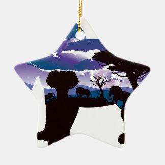 Ornement Étoile En Céramique Nuit africaine avec l'éléphant 5