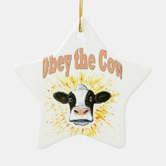 Ornement Étoile En Céramique Obéissez la vache