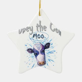 Ornement Étoile En Céramique Obéissez la vache télépathique