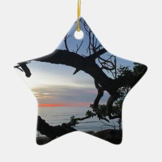 Ornement Étoile En Céramique Océan et arbres