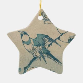Ornement Étoile En Céramique Oiseau bleu