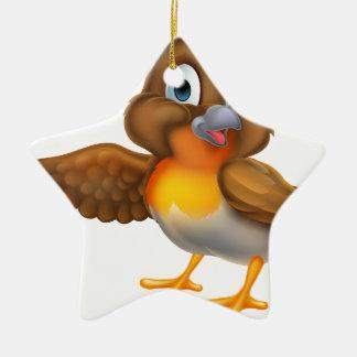 Ornement Étoile En Céramique Oiseau de Robin de bande dessinée dirigeant l'aile