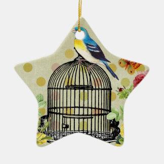 Ornement Étoile En Céramique oiseau floral, art, conception, beau, nouvelle,